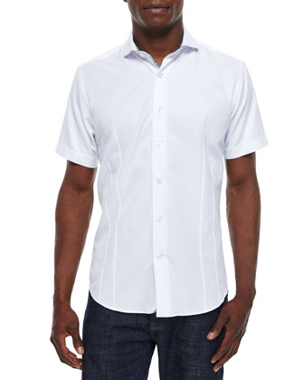 Short-Sleeve Woven Jacquard Sport Shirt, White