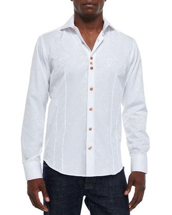 Tonal Paisley-Print Jacquard Sport Shirt, White
