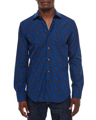 Paisley-Print Long-Sleeve Sport Shirt, Navy