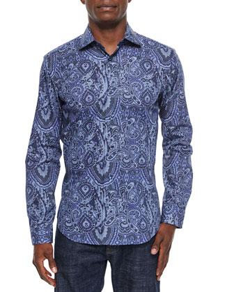Paisley-Print Long-Sleeve Sport Shirt, Dark Blue