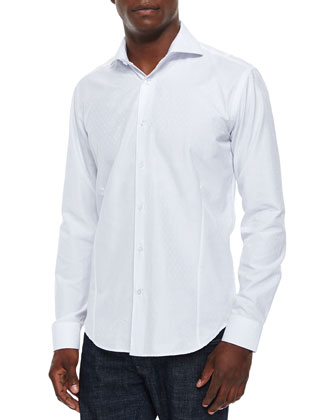 Dot-Jacquard Woven Sport Shirt, White