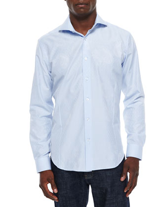 Woven Jacquard Long-Sleeve Sport Shirt, Light Blue