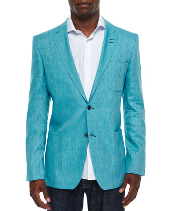 Pop Two-Button Linen-Blend Blazer, Turquoise