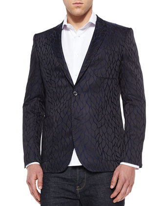 Velvet-Detail Two-Button Sport Coat, Navy