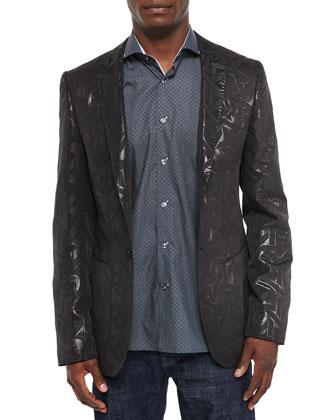 Tonal Geometric-Print Sport Coat, Black