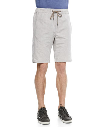Men's Linen Drawstring Shorts, Tan