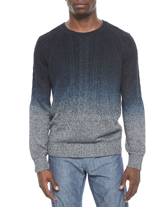 Cable Knit Dip-Dye Crewneck Sweater, Black/Gray