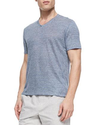 Linen Striped V-Neck Tee, White/Navy