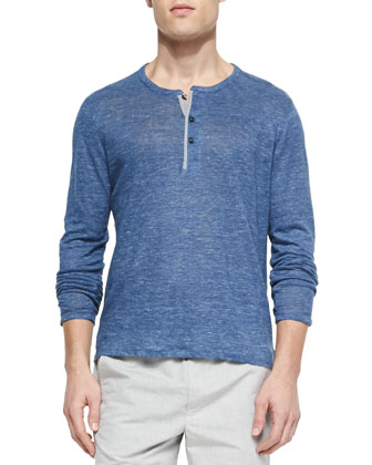 Long-Sleeve Linen Henley, Heather Navy