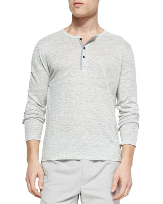 Long-Sleeve Linen Slub Henley, Heather Gray
