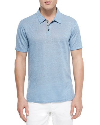 Linen-Knit Polo, Light Blue