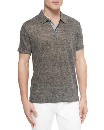 Linen-Knit Polo, Dark Gray