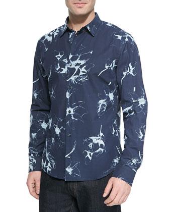 Woven Floral-Print Sport Shirt, Navy