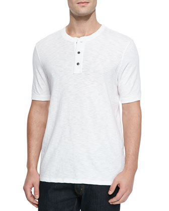 Basic Slub Short-Sleeve Henley, White