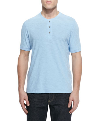 Basic Slub-Knit Henley, Coastal