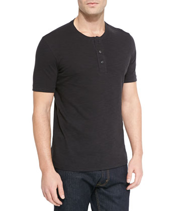 Basic Slub Short-Sleeve Henley, Black