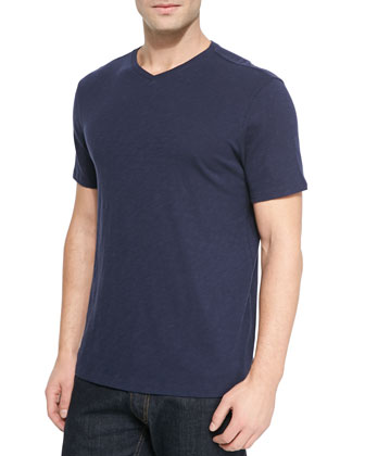 Basic Slub V-Neck Tee, Coastal