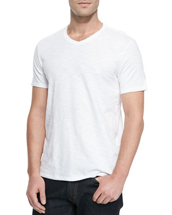 Basic Slub V-Neck Tee, White