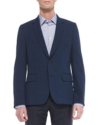 Seersucker Two-Button Jacket, Navy