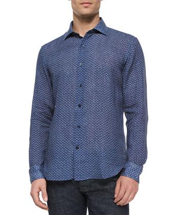 Micro-Print Linen Sport Shirt, Navy