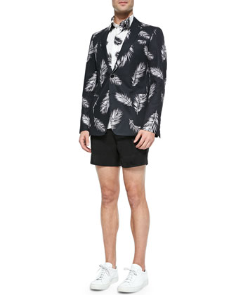 Feather-Patterned Two-Button Sport Coat, Feather-Print Short-Sleeve Shirt & ...