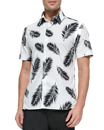 Feather-Print Short-Sleeve Shirt