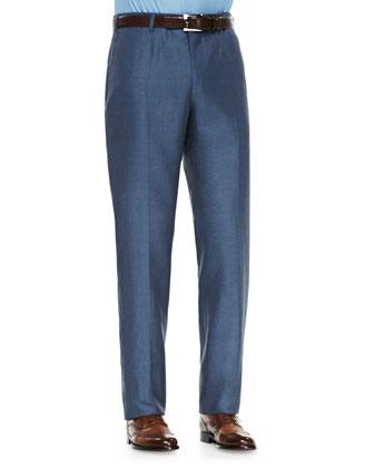 Wool/Linen Trousers, Light Blue