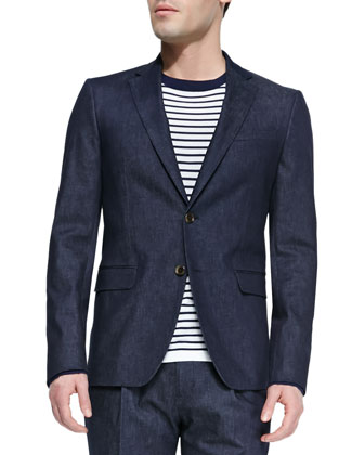 Woven Cotton-Blend Two-Button Blazer, Indigo
