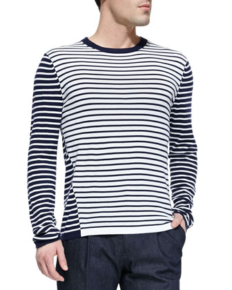 Woven Cotton-Blend Two-Button Blazer, Striped Crewneck Sweater & Stretch ...