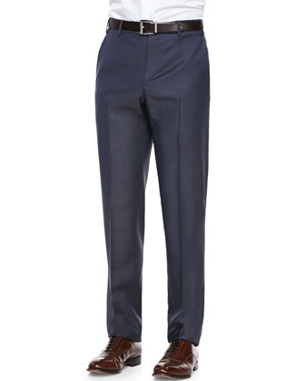 Sharkskin Dress Pants, Blue/Brown