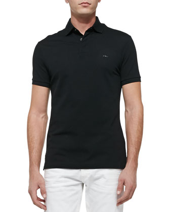 Mesh Knit Polo Shirt, Black