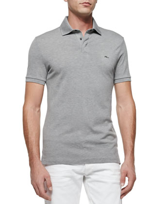 Mesh Knit Polo Shirt, Dark Gray