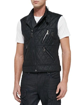 Quilted Zippered Vest, Navy