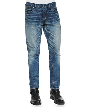 Slim-Fit Moto Denim Jeans, Blue