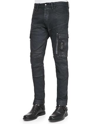 Coated Twill Cargo Pants, Navy