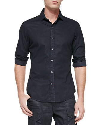 Coated Twill Long-Sleeve Shirt & Courier Slim-Fit Cargo Jeans