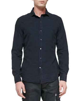Tonal-Camo Woven Shirt, Navy