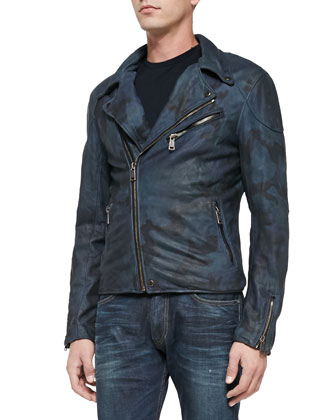 Camo-Print Leather Moto Jacket, Pocket Crewneck Tee & Ridley Stretch Slim ...