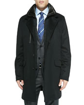 Cashmere Car Coat with Shearling Fur Windscreen