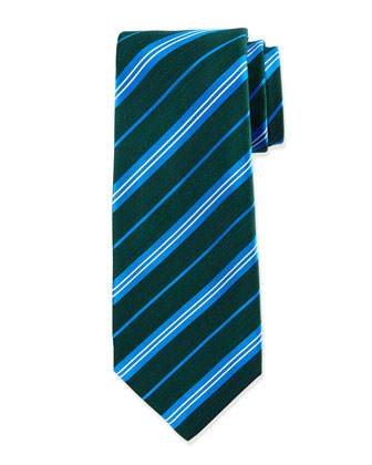 Diagonal-Stripe Silk Tie, Green/Turquoise
