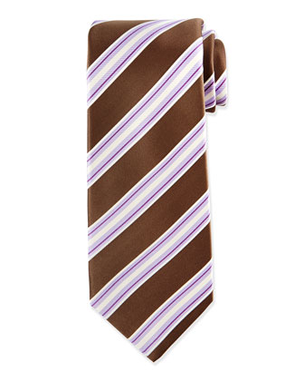 Rope-Stripe Silk Tie, Brown/Purple