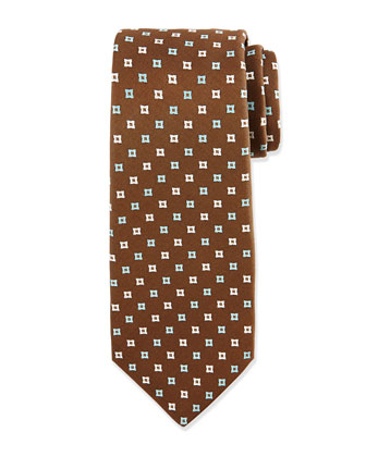 Diamond-Pattern Neat Silk Tie, Brown/Aqua