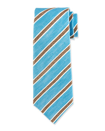 Diagonal-Stripe Silk Tie, Teal/Brown