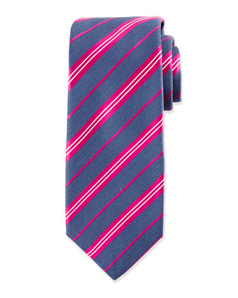 Diagonal-Stripe Silk Tie, Denim/Fuchsia