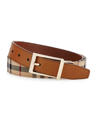 Horseferry Check Reversible Belt, Tan