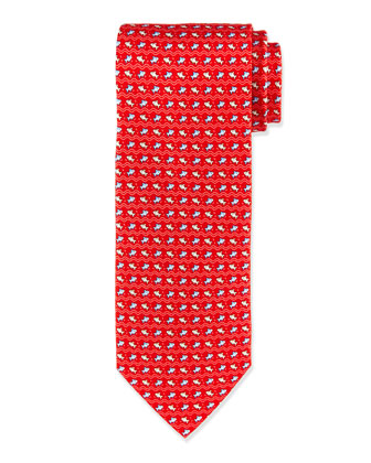 Fish & Wave Print Tie, Red