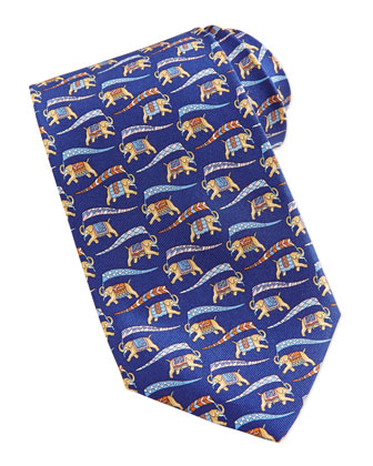 Large Elephant Vintage Silk Tie, Blue