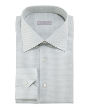 Woven Solid Neat Dress Shirt, Green