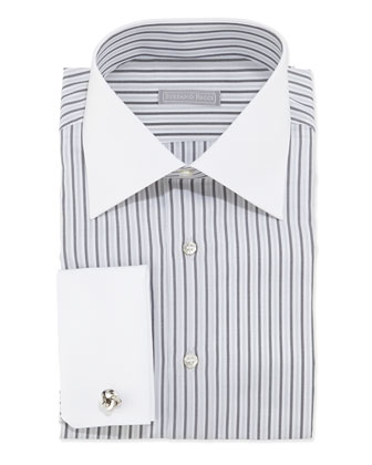 Striped Dress Shirt, Black/White