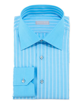 Woven Multi- Pinstripe Dress Shirt, Aqua/White